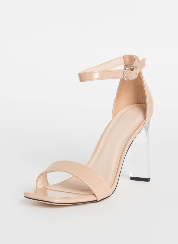 Bar Made Clear Faux Patent Heels NUDE