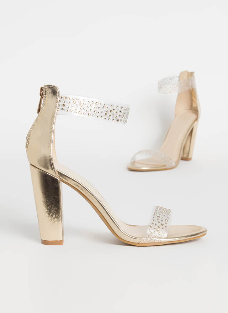 Clearly Magical Jeweled Chunky Heels GOLD