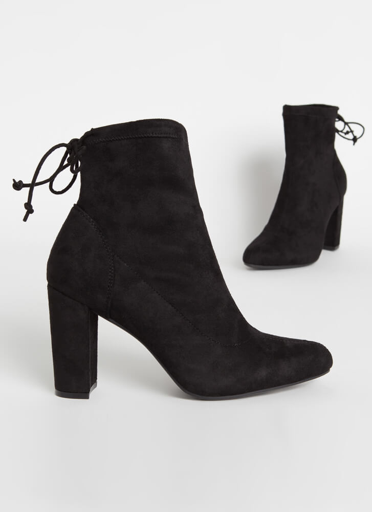 Give It A Tie Chunky Drawstring Booties BLACK