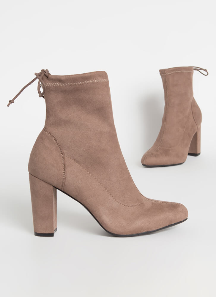 Give It A Tie Chunky Drawstring Booties TAUPE