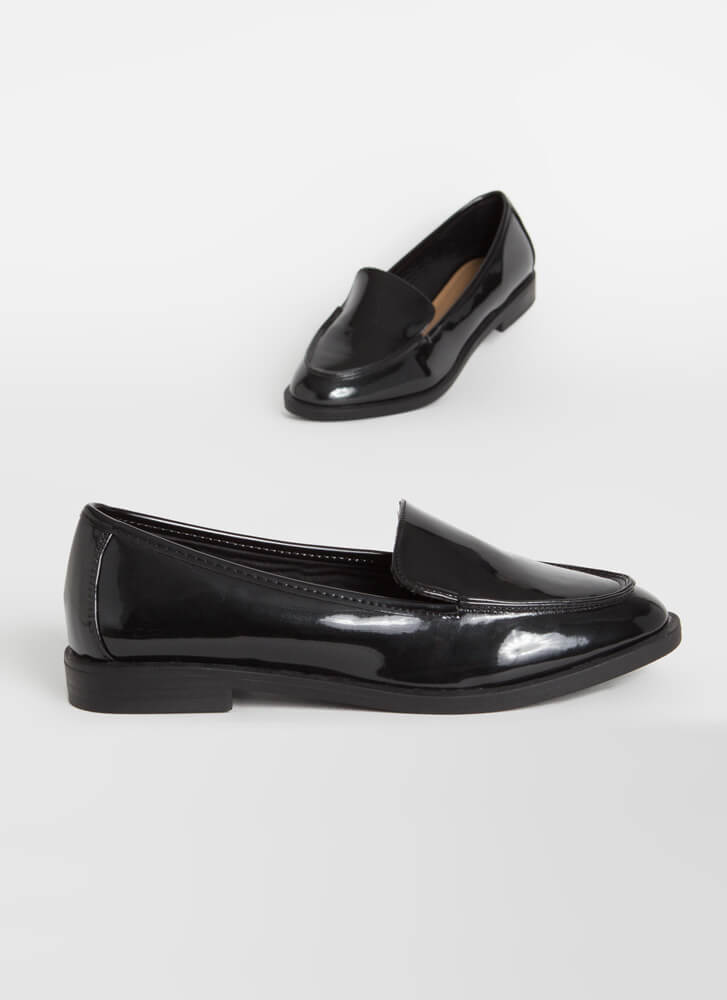 Official Business Faux Patent Loafers BLACK