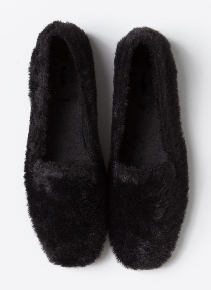 All Fuzzy Outside Furry Smoking Flats BLACK