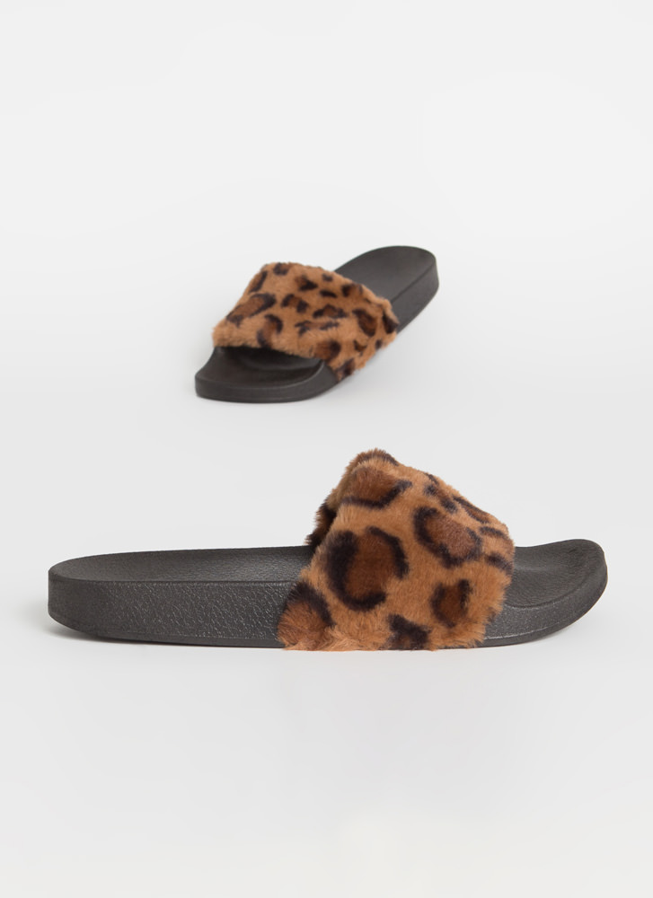 Soft On You Furry Leopard Slide Sandals TAN