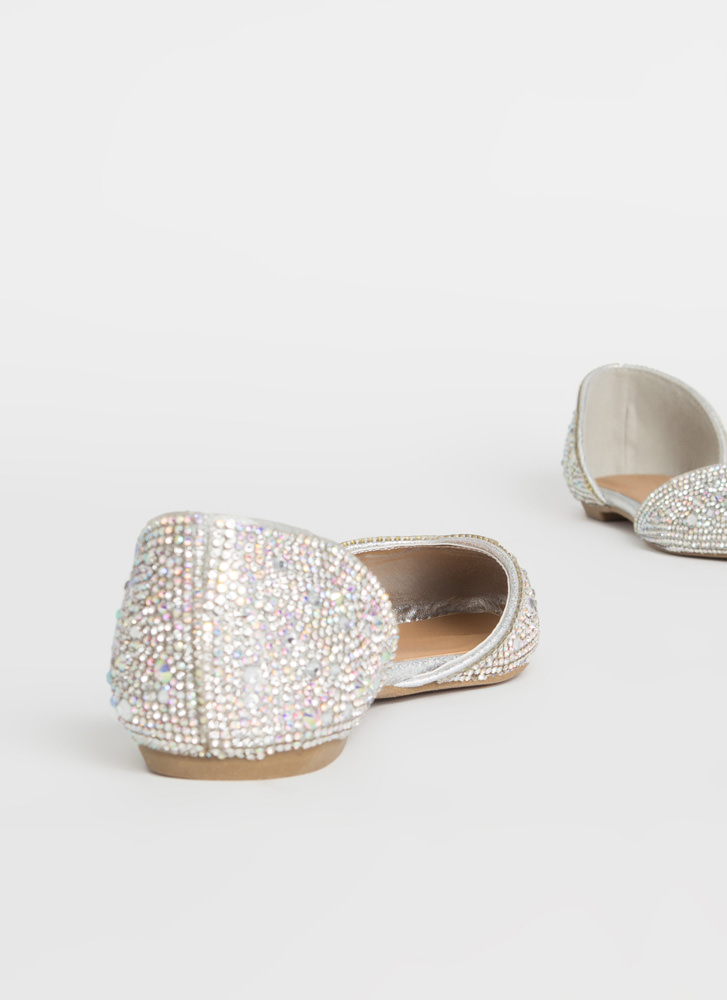 Jeweled Shoes Rhinestone D'Orsay Flats SILVER