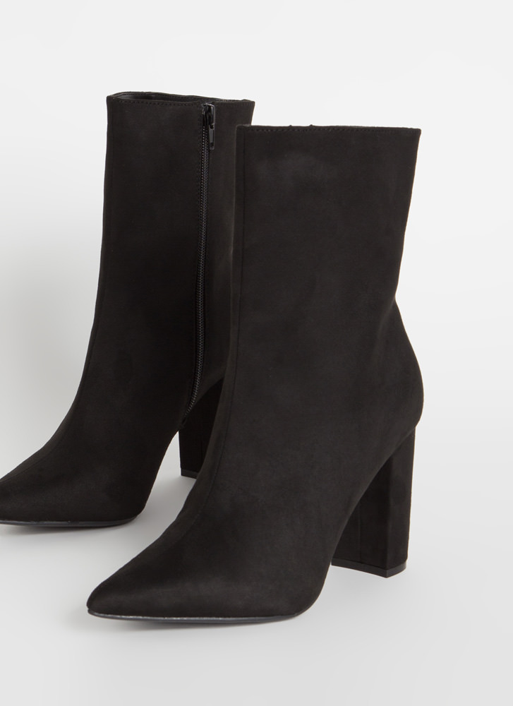 Perfect Chunky Pointy Faux Suede Booties BLACK