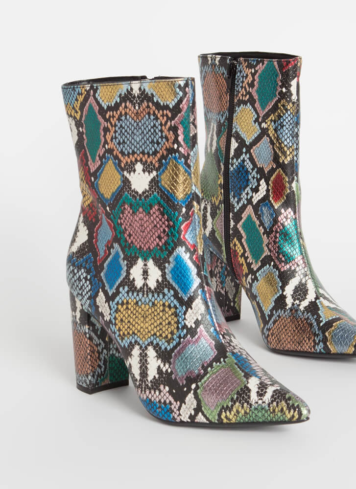 Perfect Chunky Pointy Snake Booties MULTI