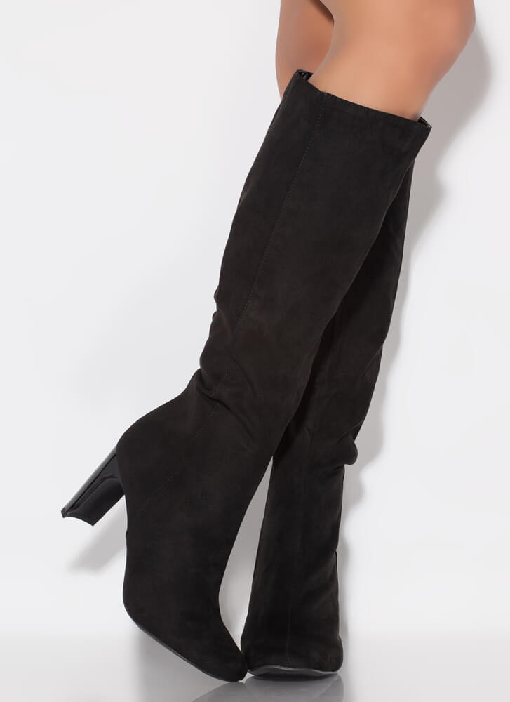 Just Right Faux Suede Knee-High Boots BLACK