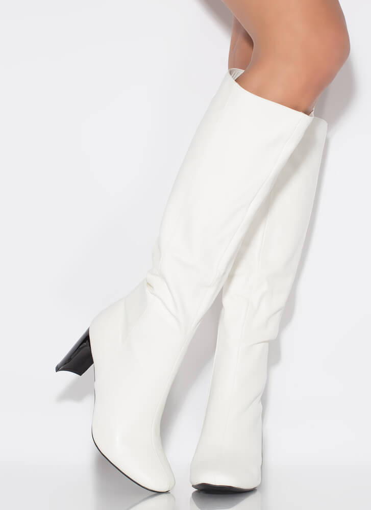 Just Right Faux Leather Knee-High Boots WHITE