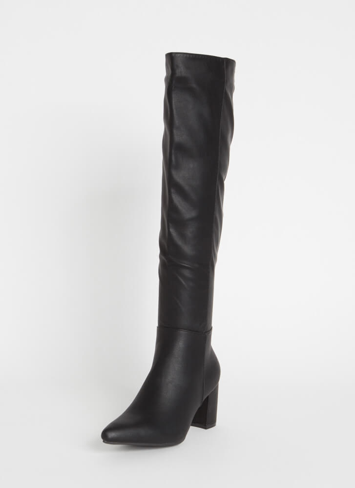 Perfection Chunky Over-The-Knee Boots BLACK
