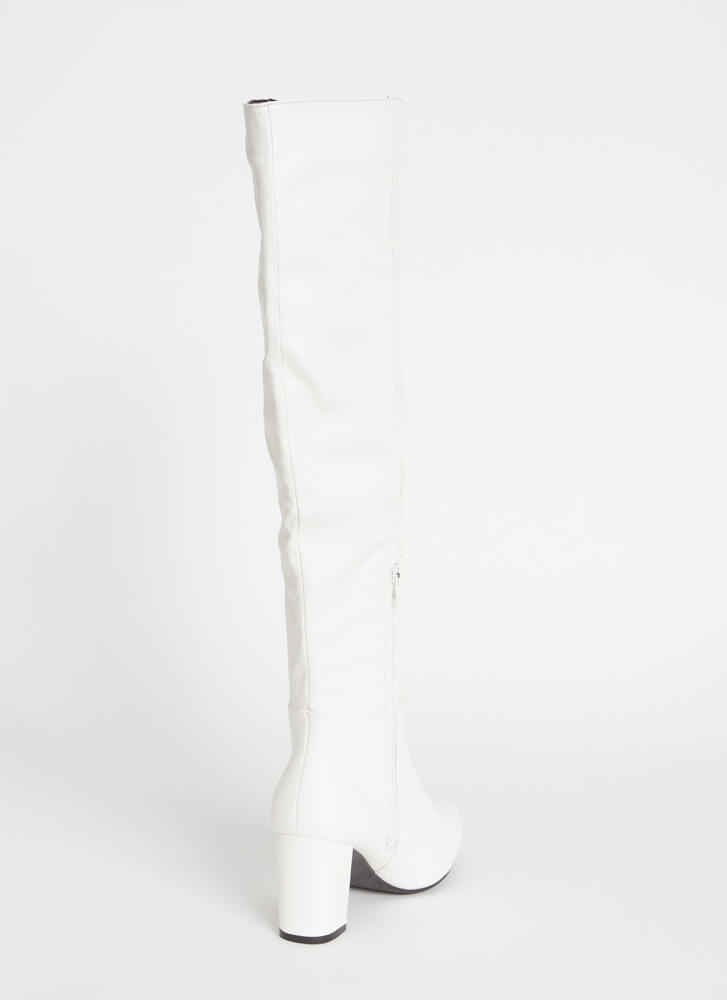 Perfection Chunky Over-The-Knee Boots WHITE