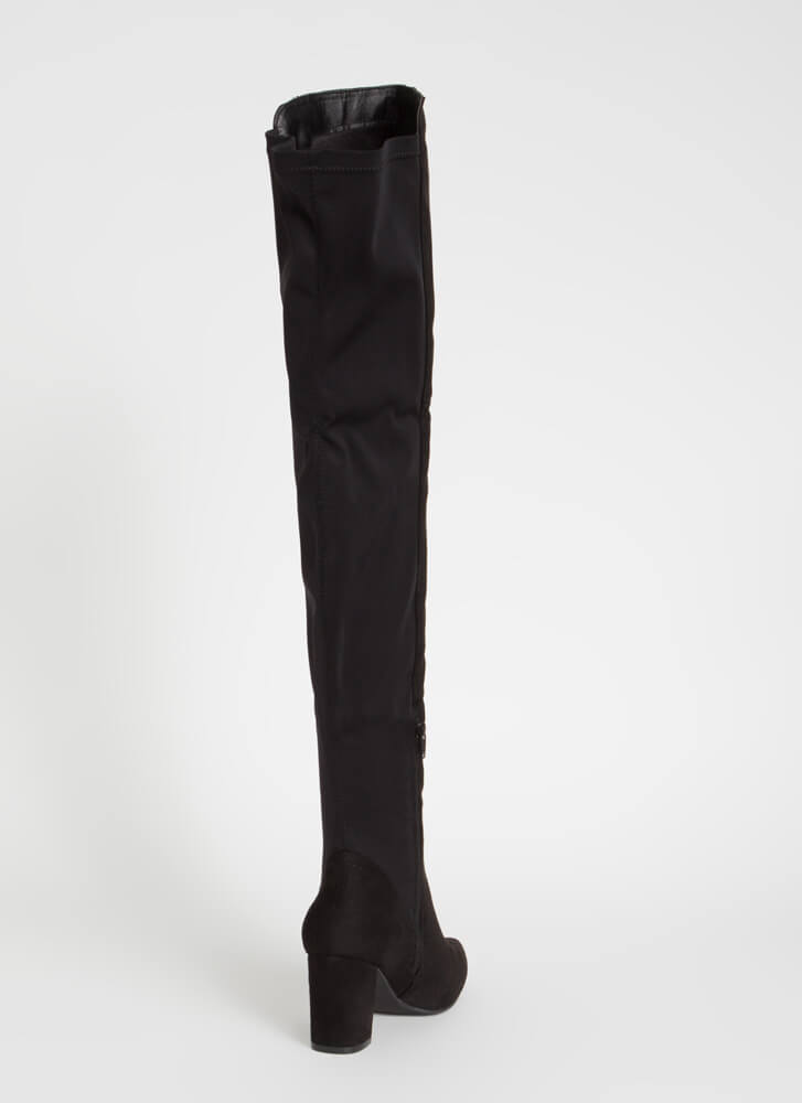 Here For It Stretchy Thigh-High Boots BLACK