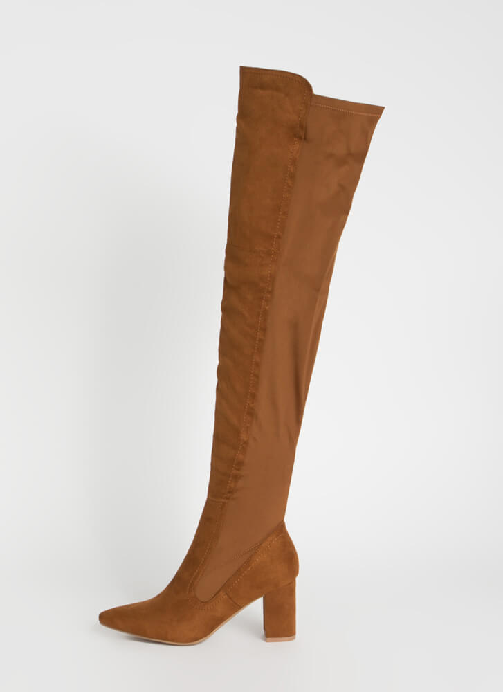 Here For It Stretchy Thigh-High Boots CHESTNUT