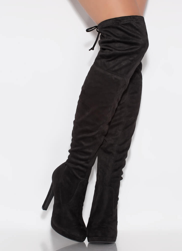 It's Forever Drawstring Thigh-High Boots BLACK
