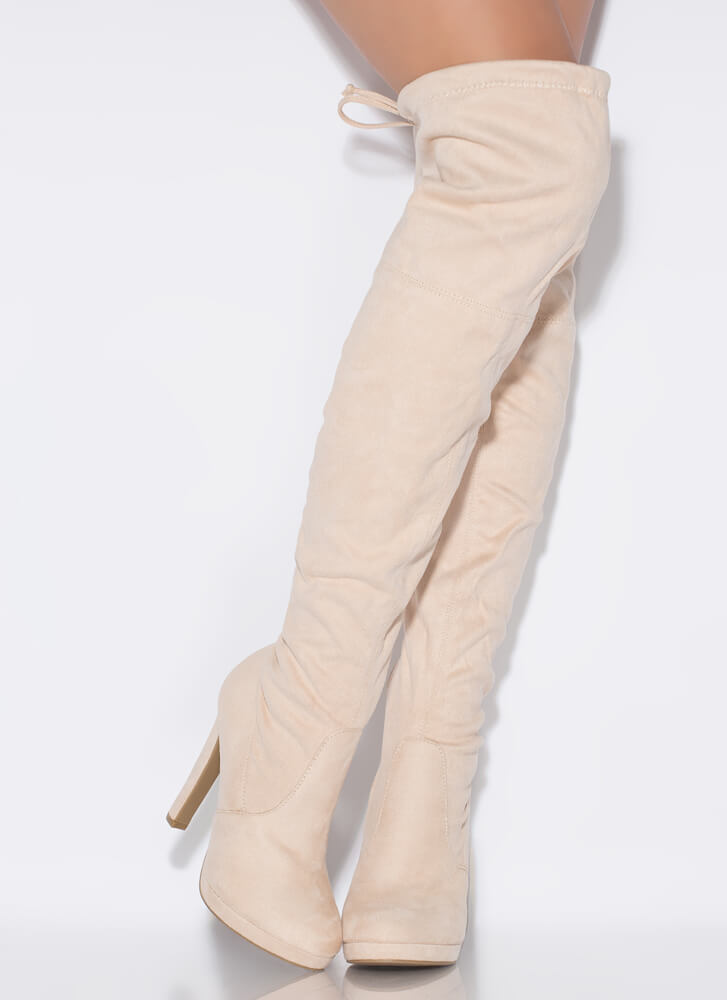 It's Forever Drawstring Thigh-High Boots NUDE