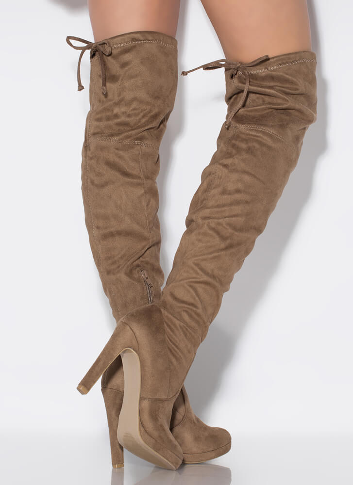 It's Forever Drawstring Thigh-High Boots TAUPE