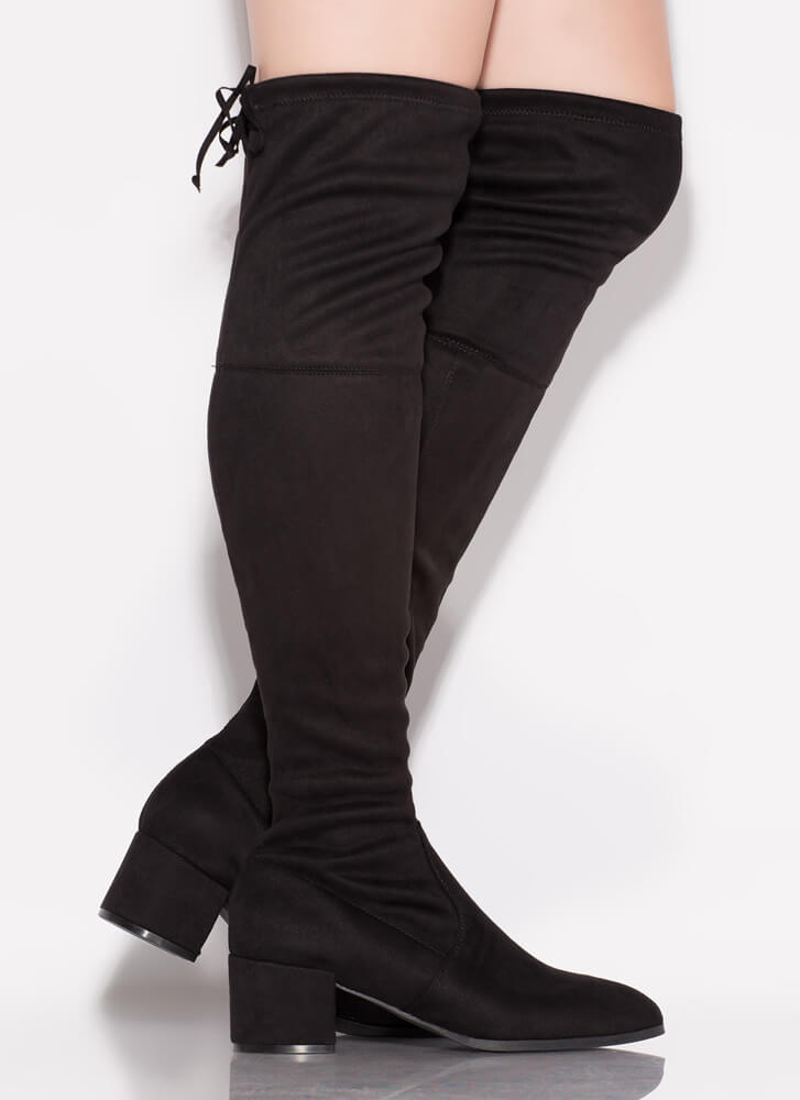 Daytime Block Heel Thigh-High Boots BLACK