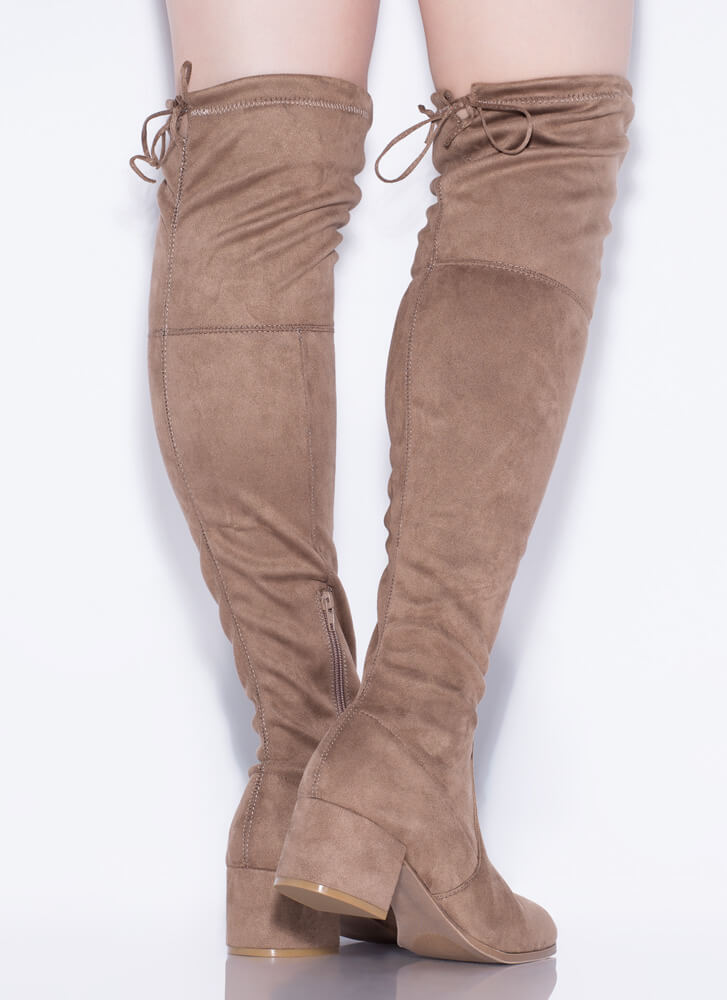Daytime Block Heel Thigh-High Boots TAUPE