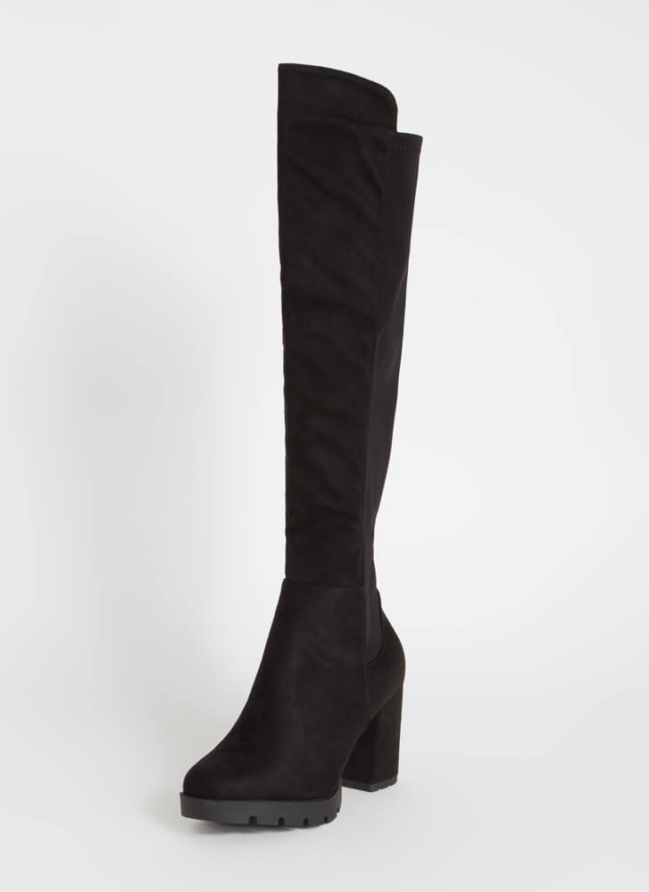 Yes Ma'am Over-The-Knee Platform Boots BLACK