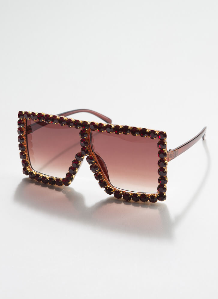 Such A Gem Jeweled Square Sunglasses BROWN