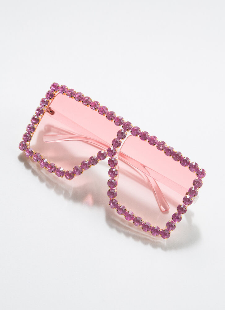 Such A Gem Jeweled Square Sunglasses PINK