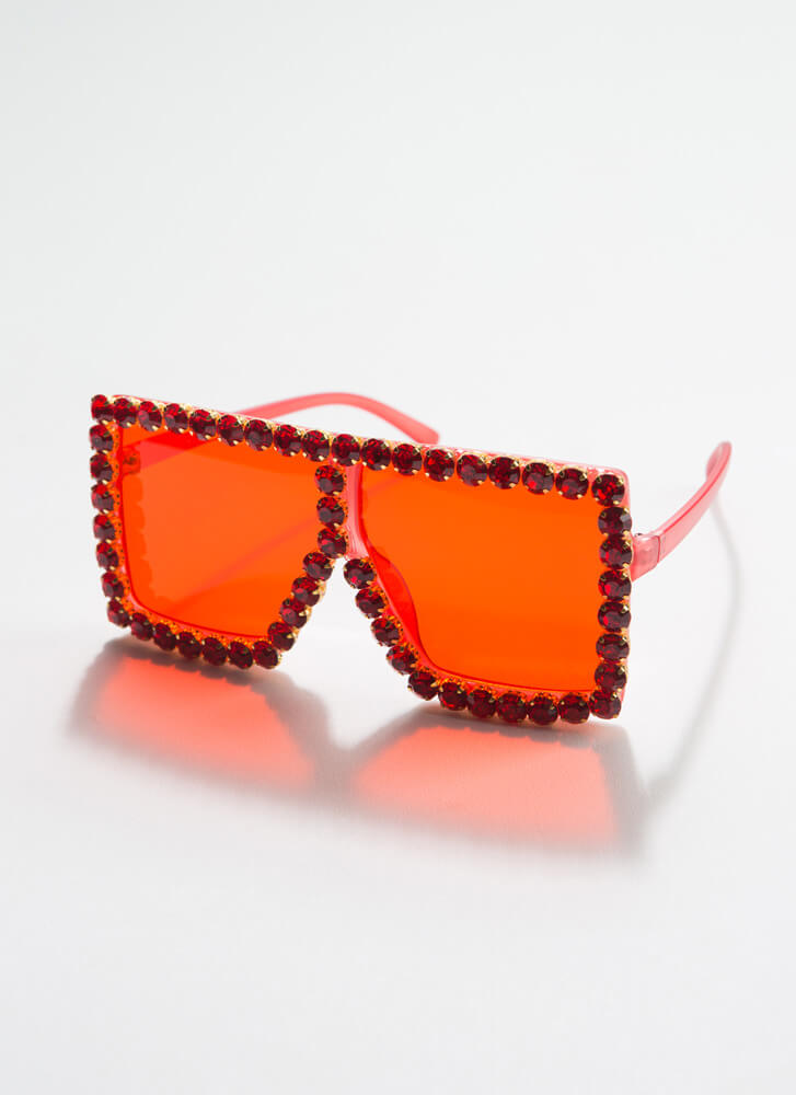 Such A Gem Jeweled Square Sunglasses RED