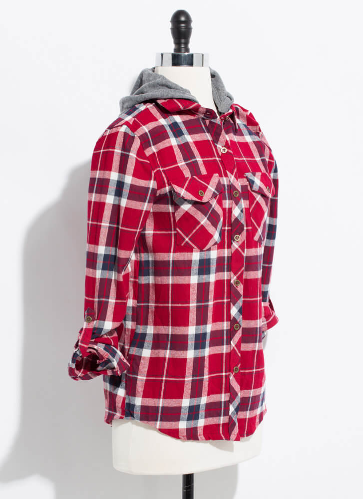 Cute Flannel Hooded Plaid Button-Up RED
