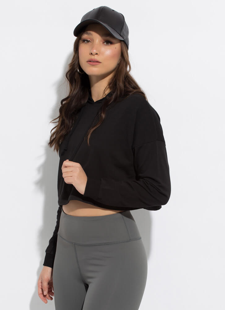 Need Want Have Cropped Hooded Sweatshirt BLACK