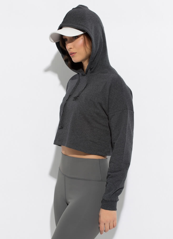 Need Want Have Cropped Hooded Sweatshirt GREY