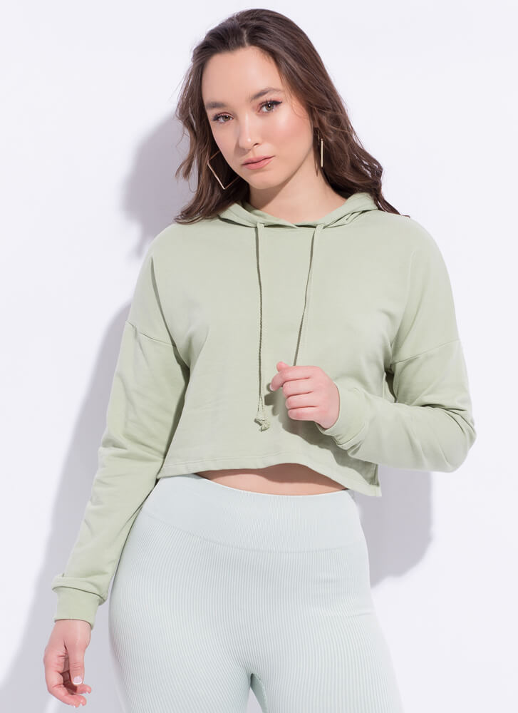 Need Want Have Cropped Hooded Sweatshirt LTSAGE