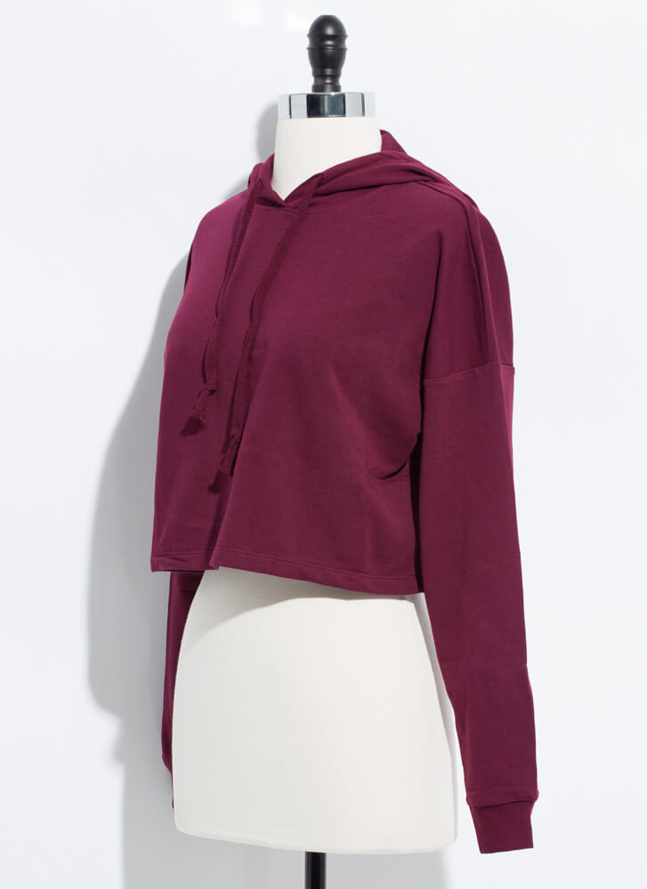 Need Want Have Cropped Hooded Sweatshirt WINE
