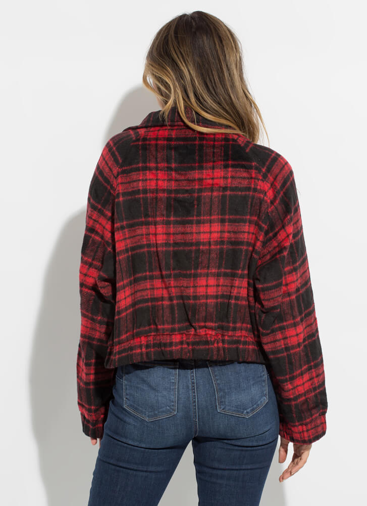 Flannel Chic Plaid Zip-Front Jacket RED