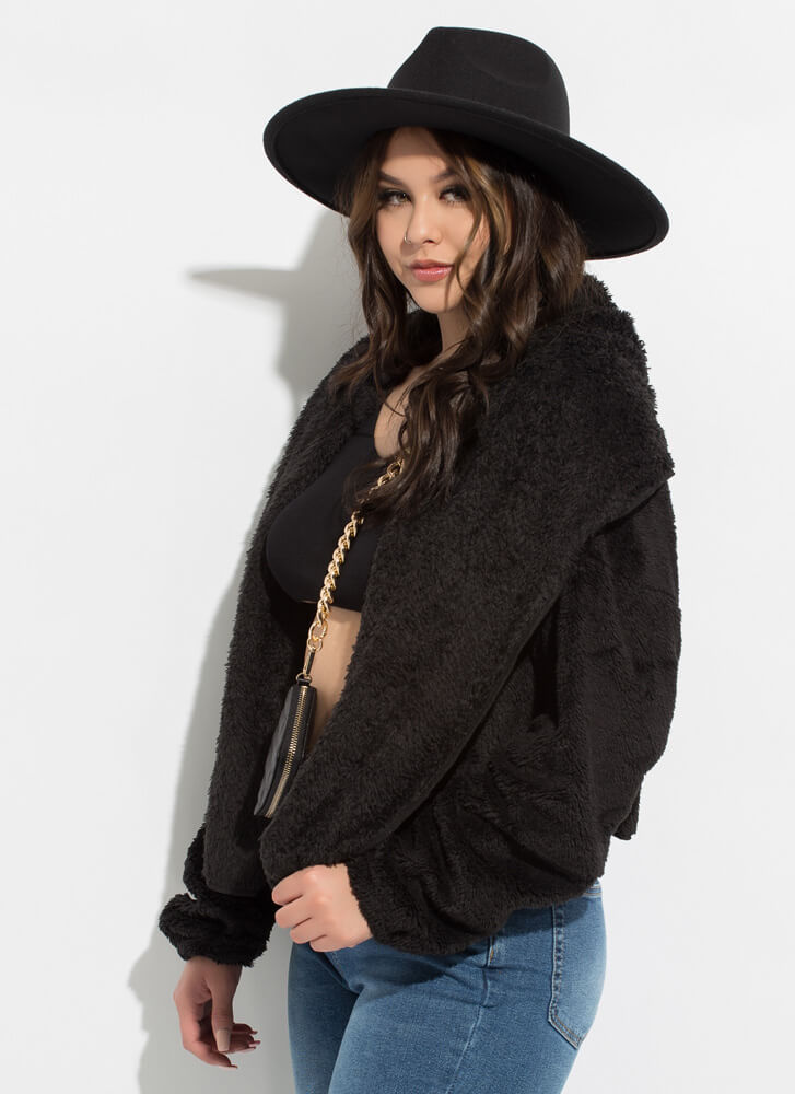 Soft Personality Hooded Faux Fur Jacket BLACK