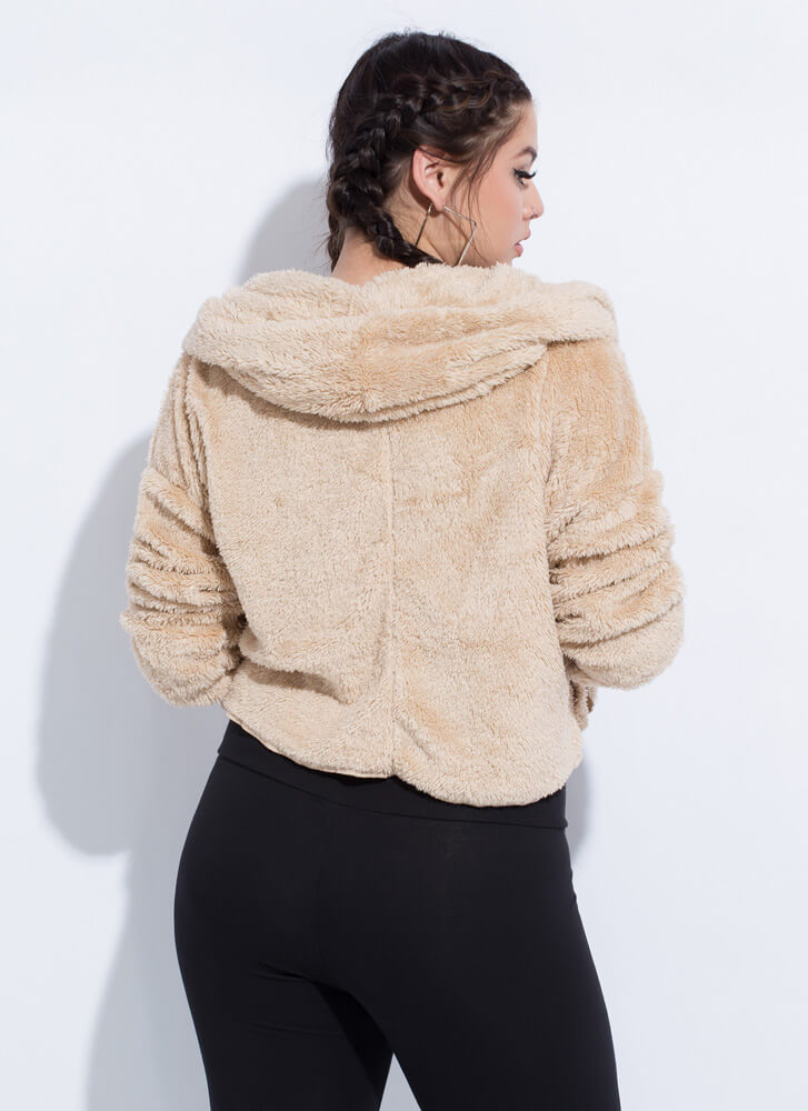 Soft Personality Hooded Faux Fur Jacket TAUPE