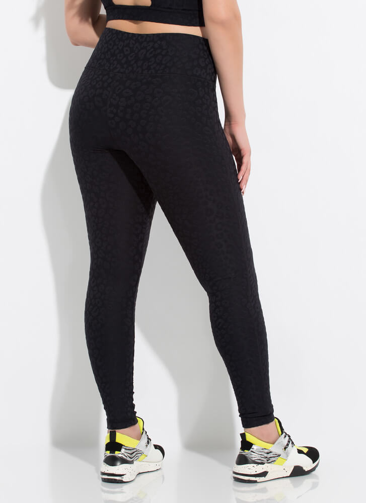 Run Wild Coated Leopard Leggings BLACK