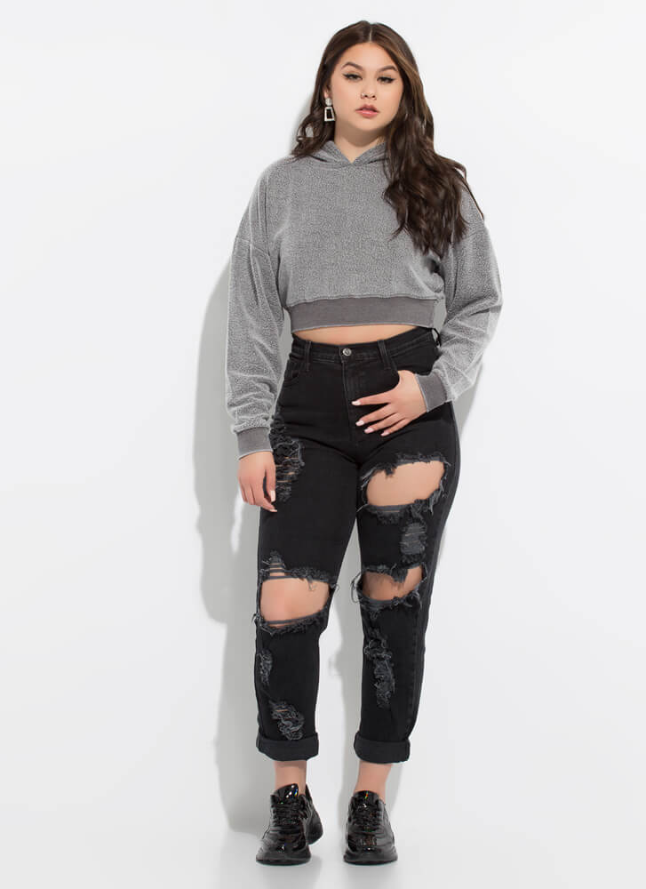 All Warm And Fuzzy Cropped Hoodie CHARCOAL