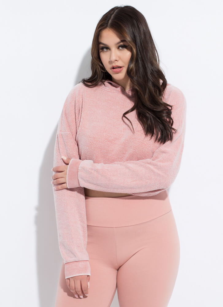 All Warm And Fuzzy Cropped Hoodie DUSTYPINK