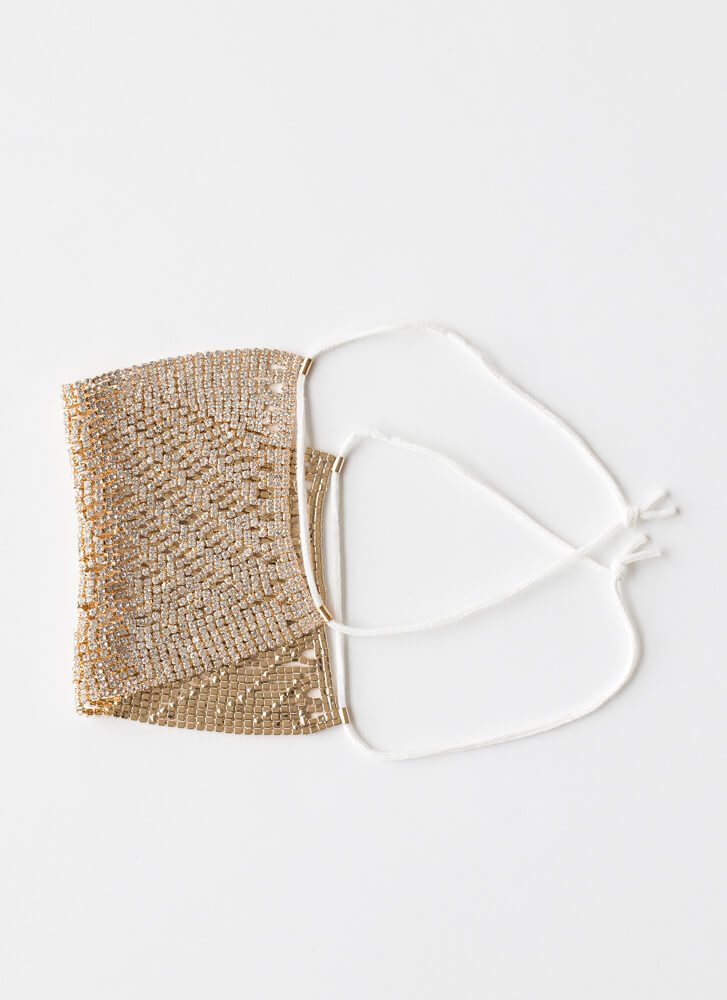 Chainmail Jeweled Face Mask Overlay GOLD