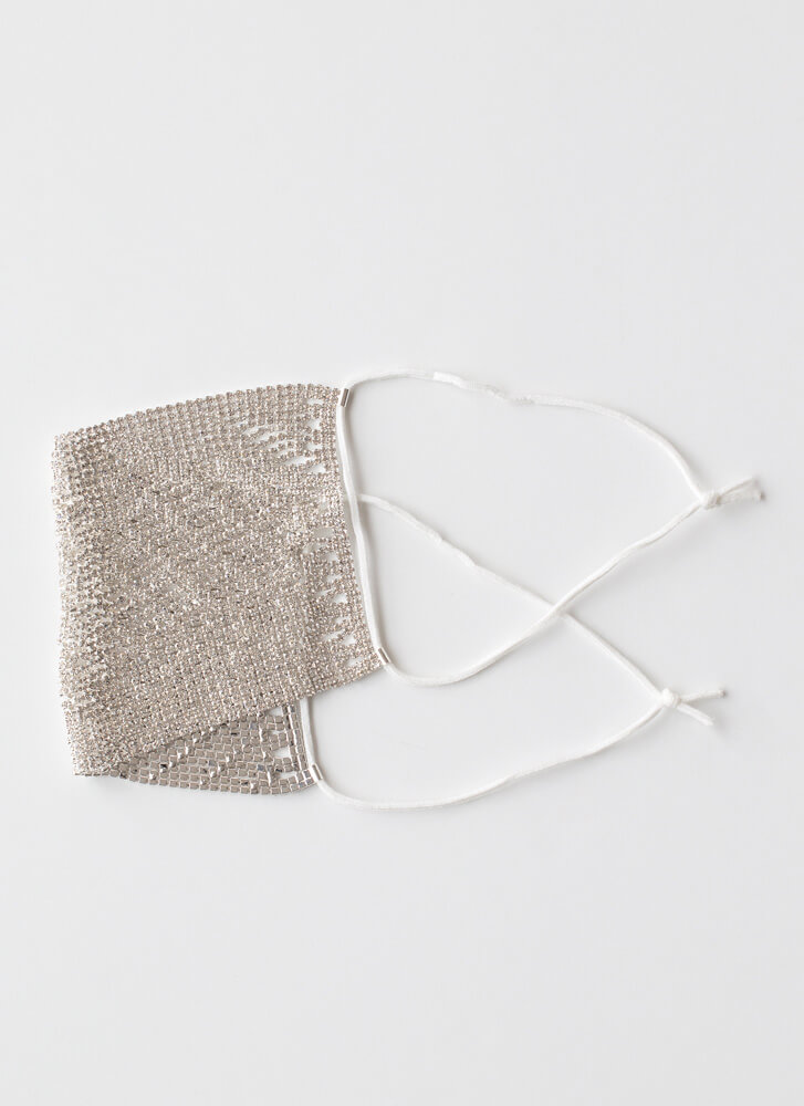 Chainmail Jeweled Face Mask Overlay SILVER
