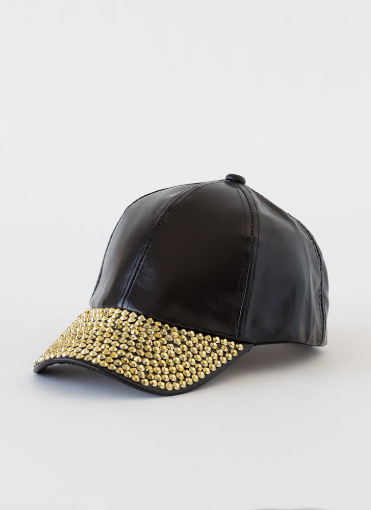 In Concert Faux Leather Jewel-Stud Cap BLACK