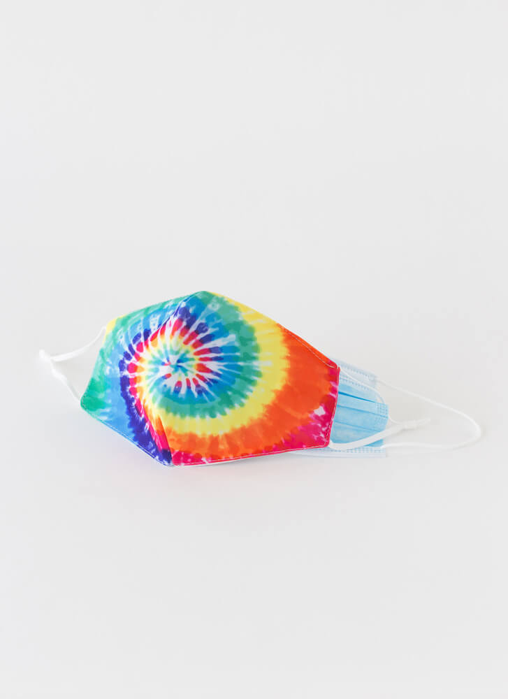 Happy Face Pocketed Tie-Dye Face Mask TIEDYE