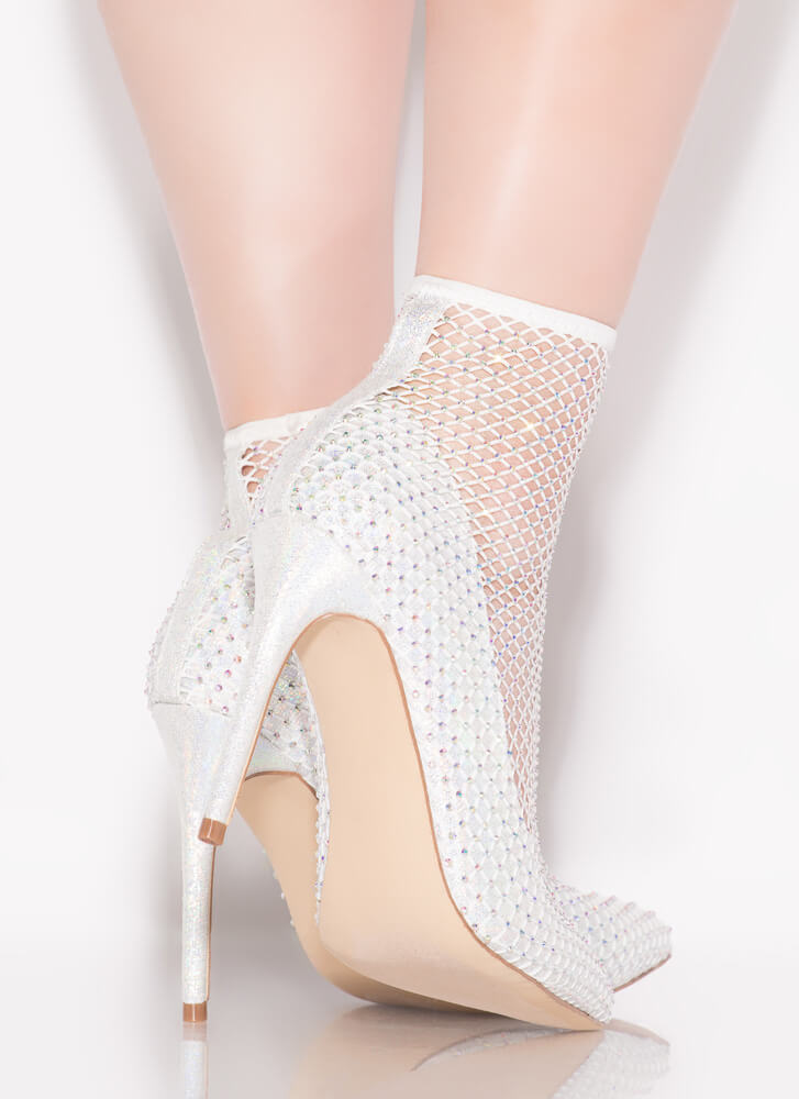 Net Gear Pointy Jeweled Sock Pumps IRIDESCENT