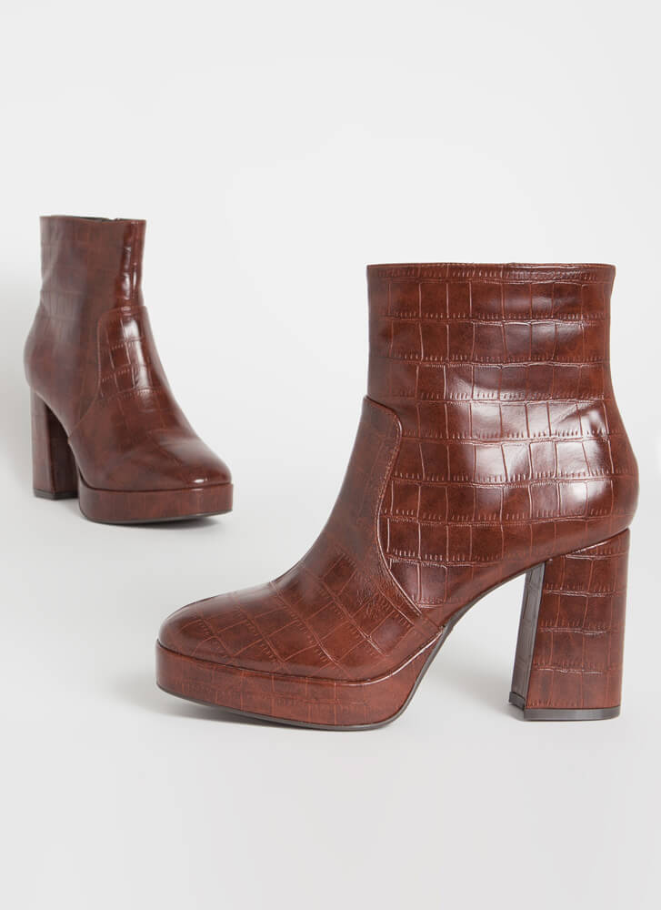 Big Hit Chunky Faux Crocodile Booties BROWN