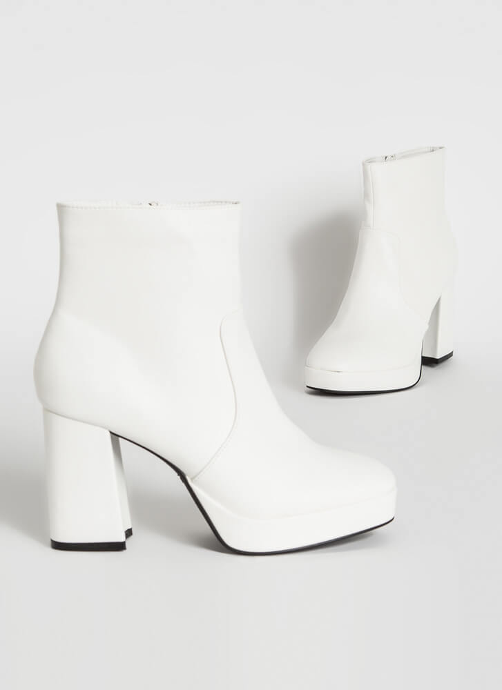 Big Hit Chunky Faux Leather Booties WHITE