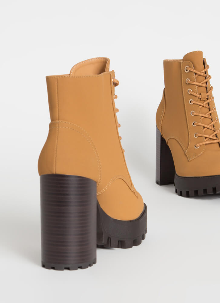 Workboots On Chunky Lace-Up Lug Booties HONEYWHEAT