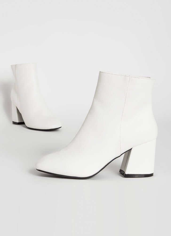 Notch Above Faux Leather Block Booties WHITE