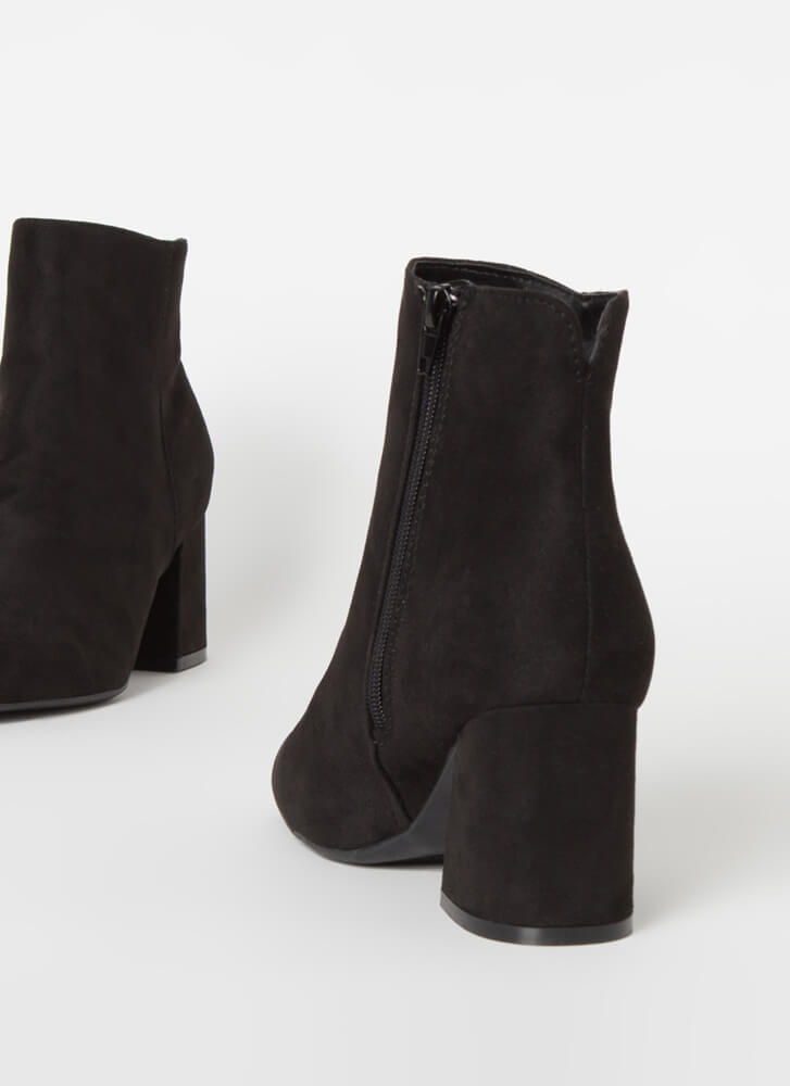 Notch Above Faux Suede Block Booties BLACK
