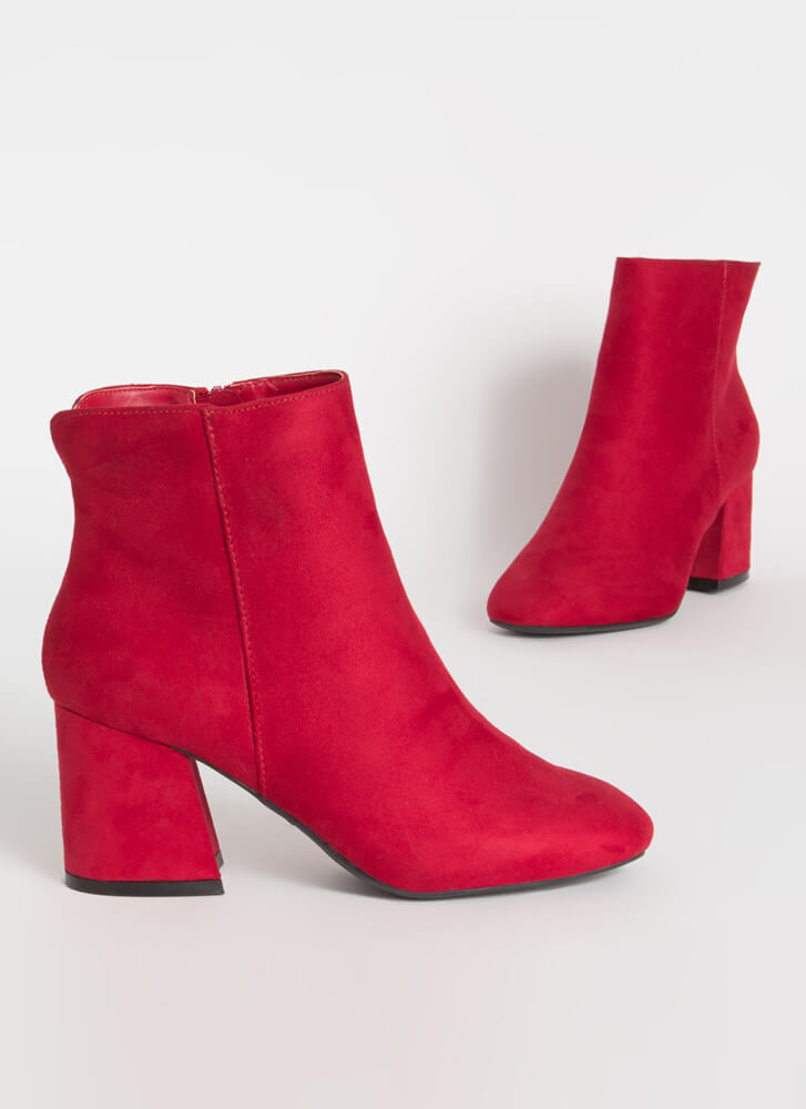 Notch Above Faux Suede Block Booties RED