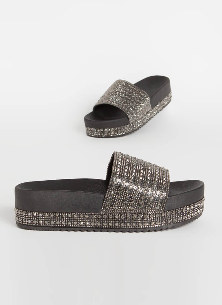 Bazaar Jeweled Platform Slide Sandals BLACK