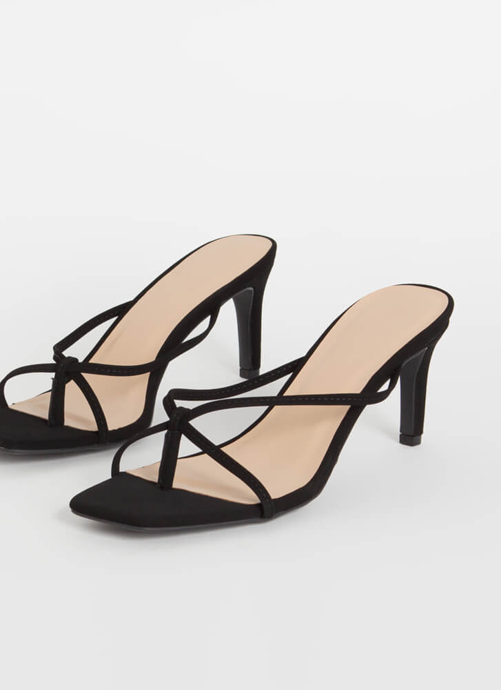 Strappy Go Lucky Thong Mule Heels BLACK