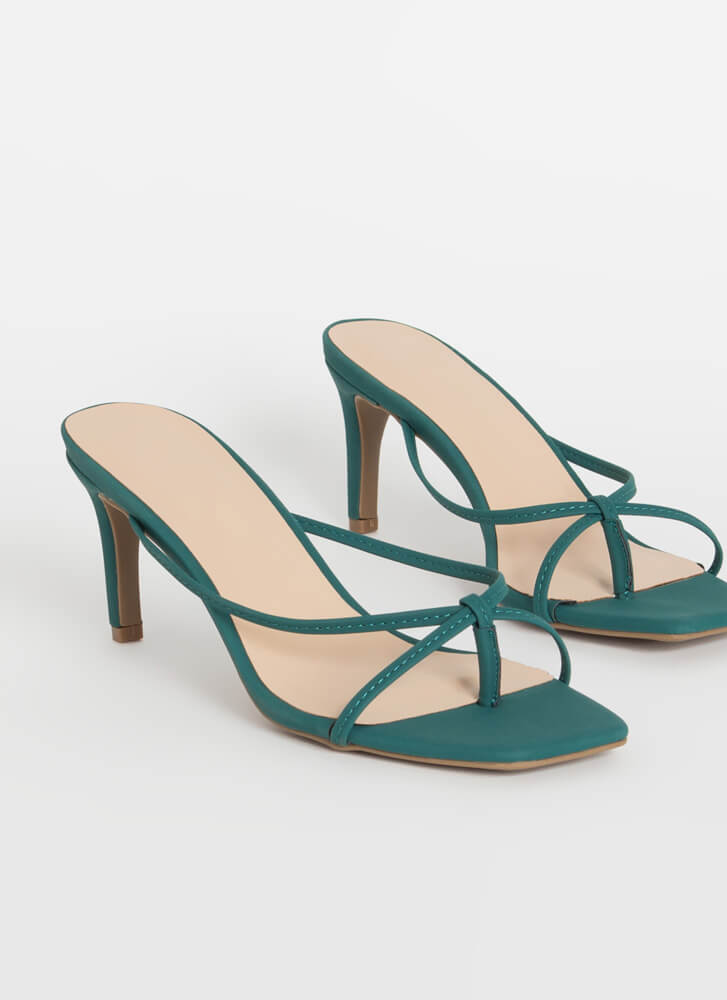 Strappy Go Lucky Thong Mule Heels EMERALD